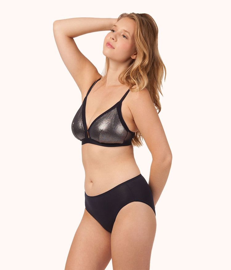 The Metallic Busty Bralette: Midnight Navy