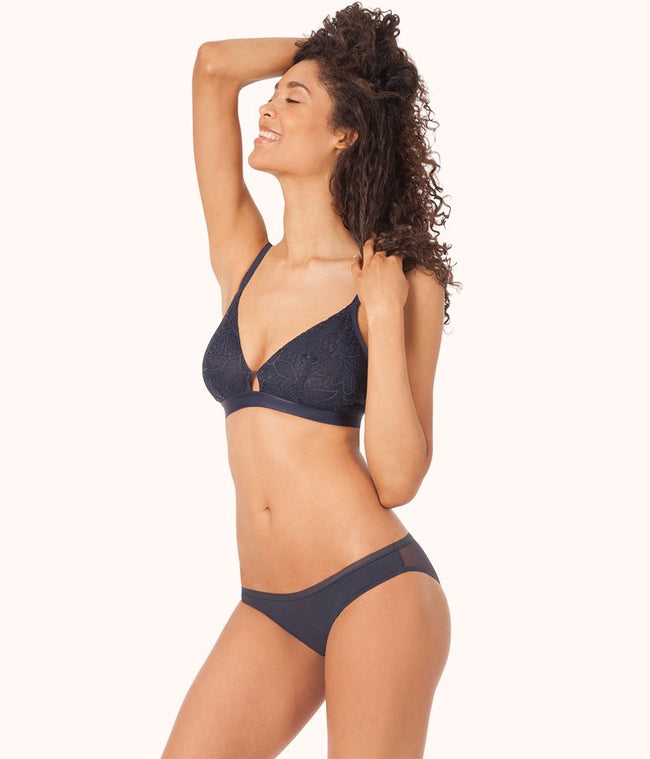 The Palm Lace Busty Bralette: Navy