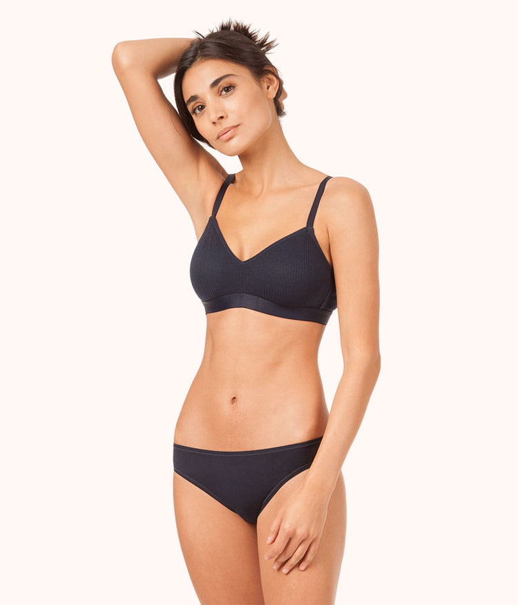 The Retro Ribbed Bralette: Midnight Navy