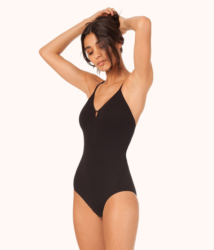 The Seamless Deep V Bodysuit: Jet Black