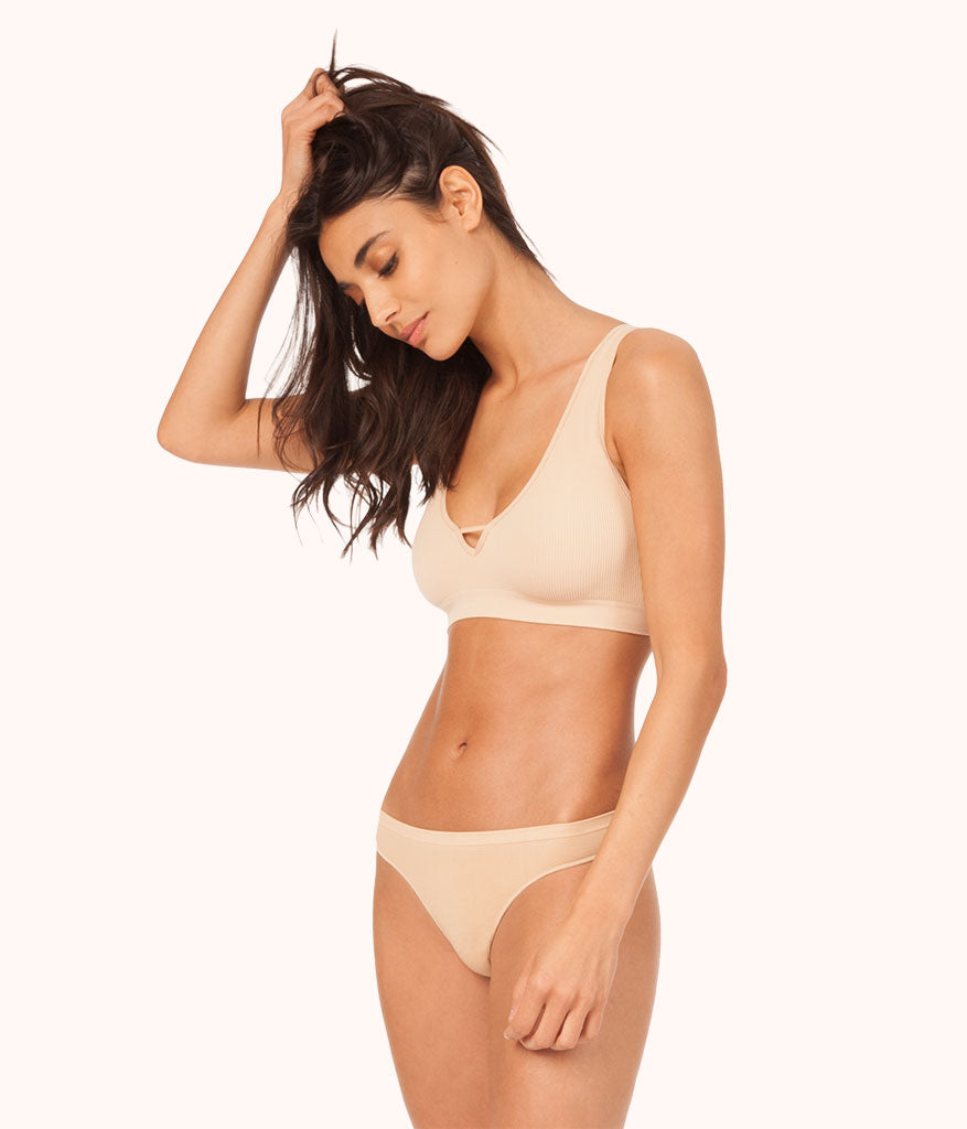 48cfffb657567 The Seamless Deep V Bralette  Toasted Almond