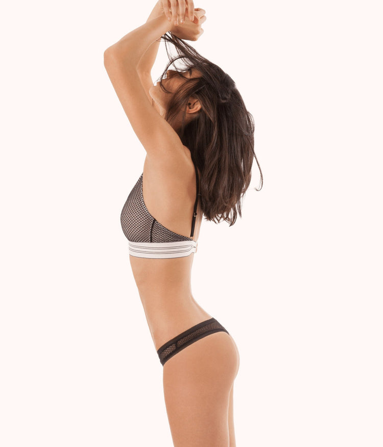 The Geo Lace Thong: Jet Black