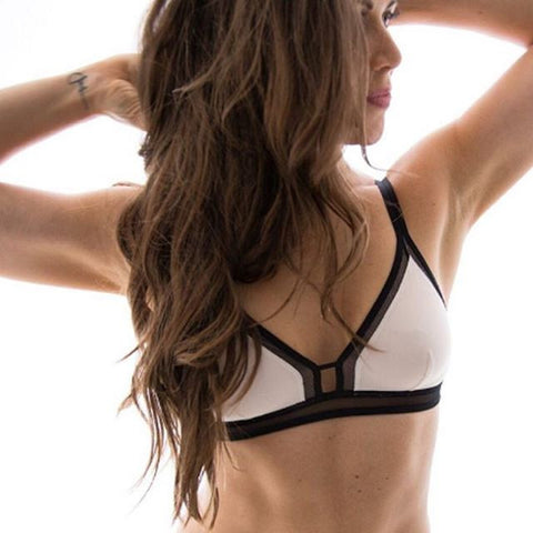 The Mesh Trim Bralette - Colorblock: Soft Pink/Jet Black