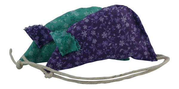Floral Pack of two catnip mice - purple and green