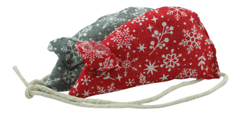 Snowflake Catnip Mice - Red and Grey