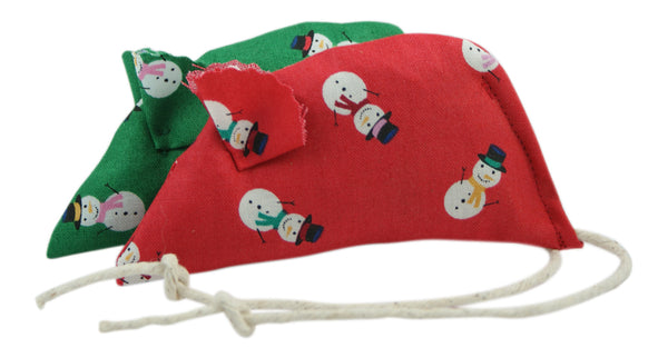 Molly's Christmas  Catnip Mice - Red Snowmen and Green Snowmen