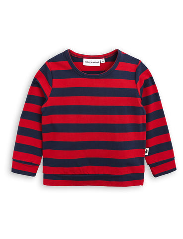 MINI RODINI Blockstripe cuff tee - red/blue