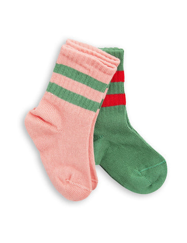 MINI RODINI Stripe socks - pink/green