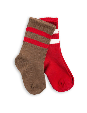 MINI RODINI Stripe socks - brown/red