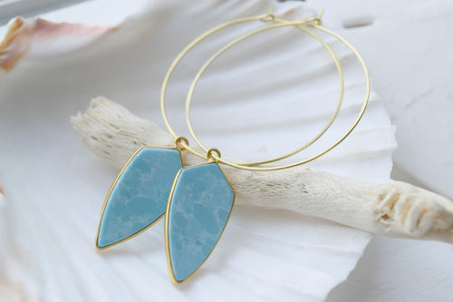 The Aqua Jade Hoop Earrings