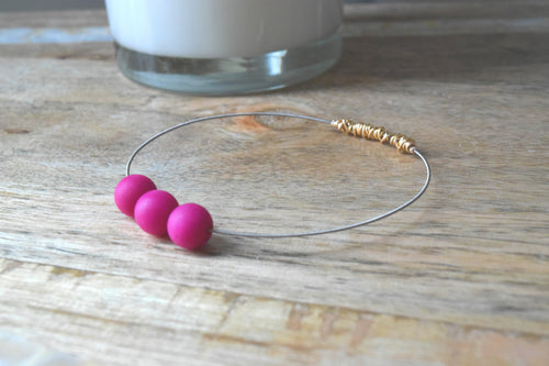 Fuchsia Jade Guitar String Bangle -Mini Stacking Bangles - Bird on a Wire Bangles