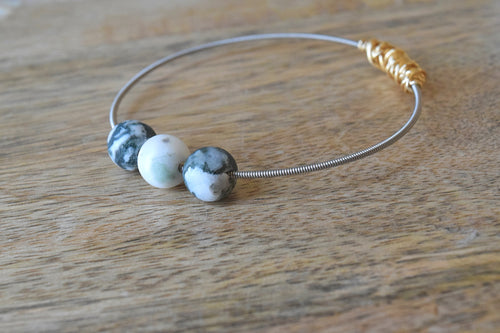 Ocean Agate Mini Stacking Guitar String Bangle