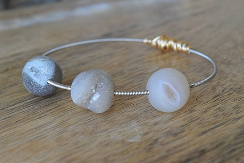 Natural Agate Druzy Mini Stacking Guitar String Bangle