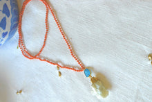 Long Coral Beaded Necklace
