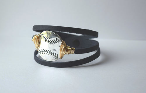 Take me out to the Ballgame Leather Bracelet
