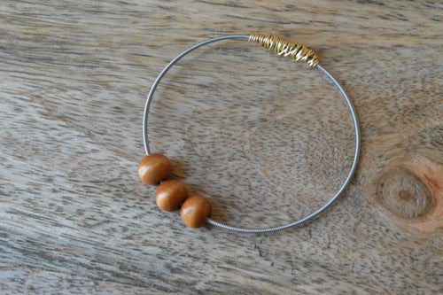 The Natural Wood Bead Guitar String Bangle