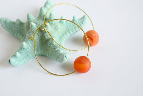 Orange Agate Druzy Earrings