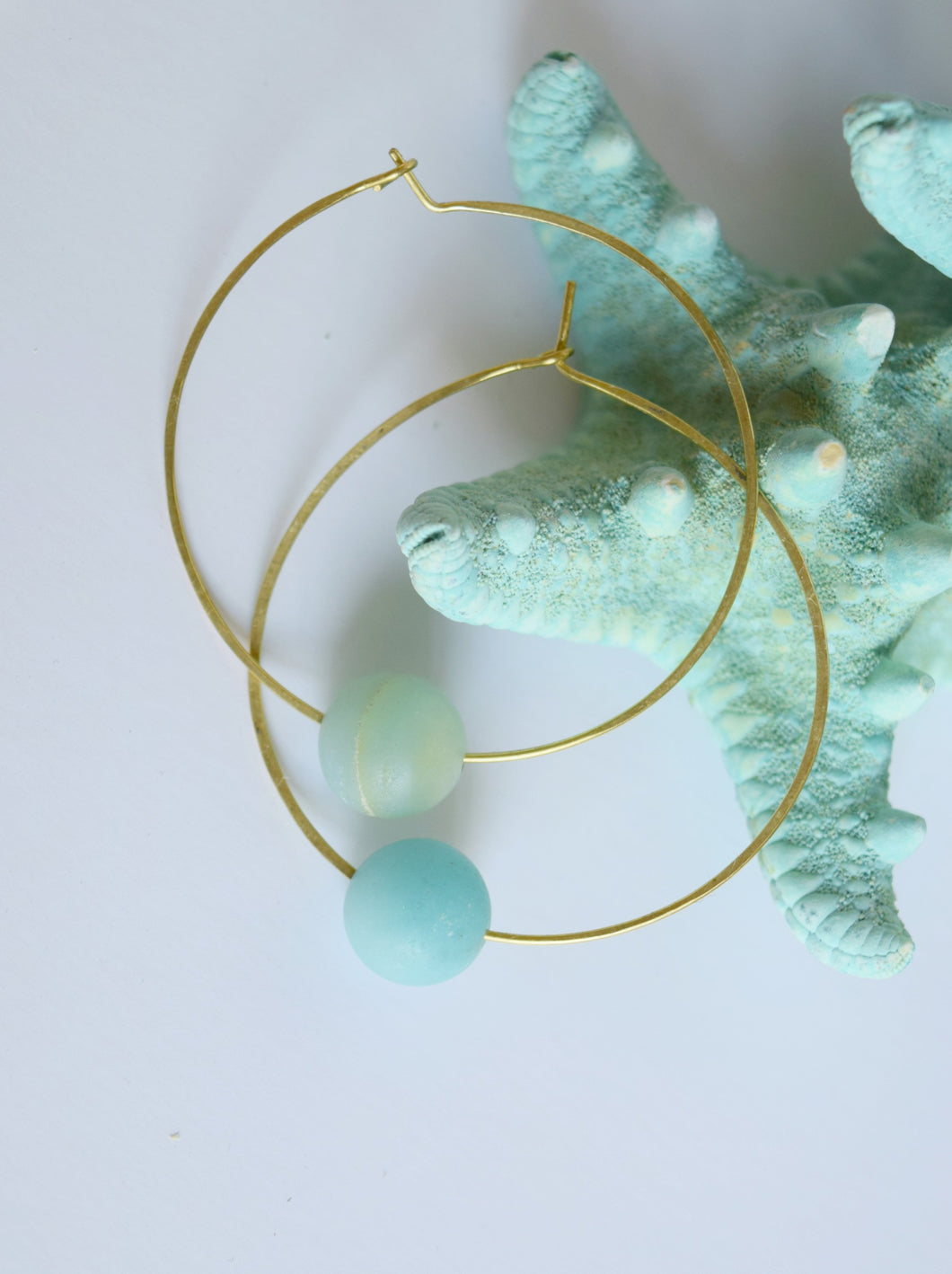 Seaside Amazonite Hoop Earrings