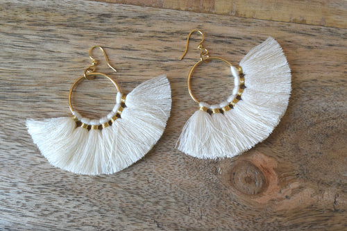 Fan Tassel Hoop Earrings in Cream