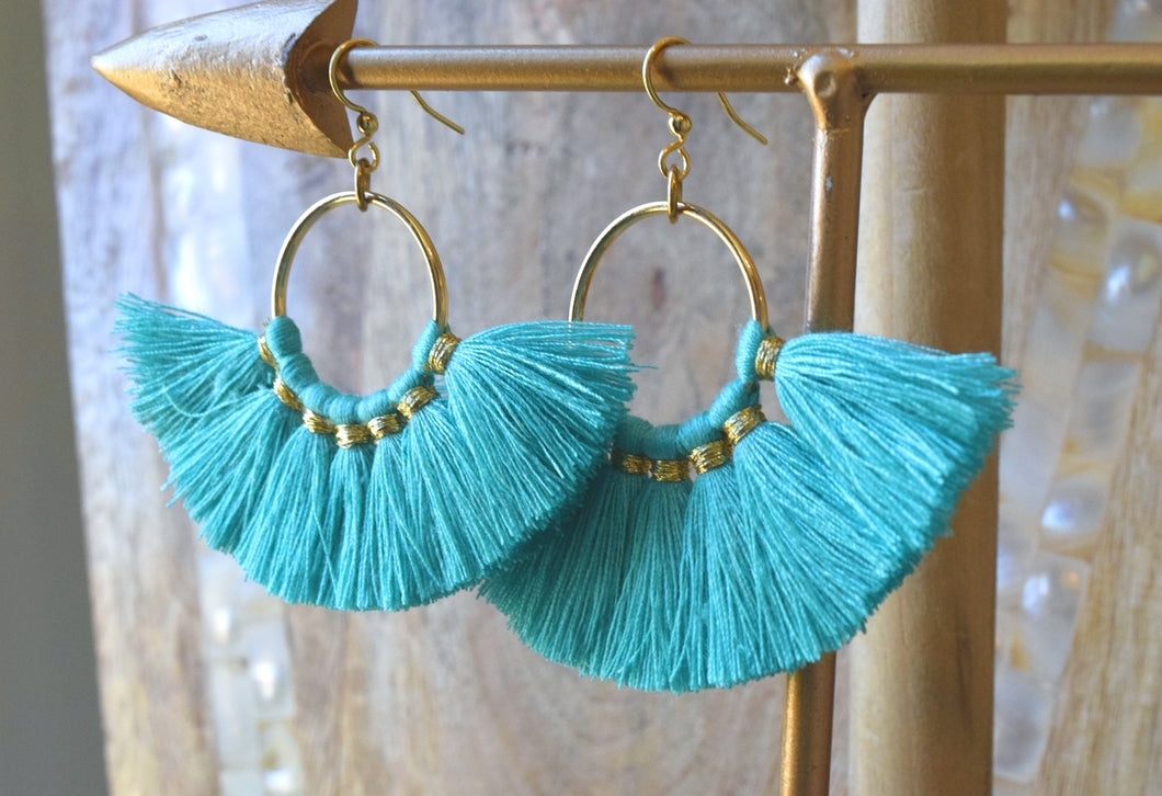 Fan Tassel Earrings in Turquoise