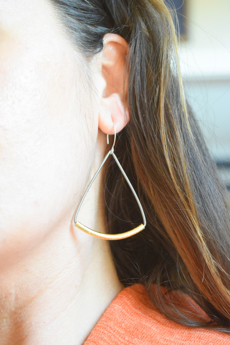The Love Triangle-Guitar String Earrings
