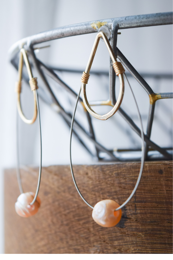 The Mini Pearl Guitar String Earrings