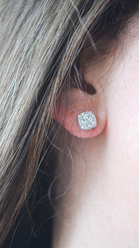 Druzy Stud Earrings (Silver)