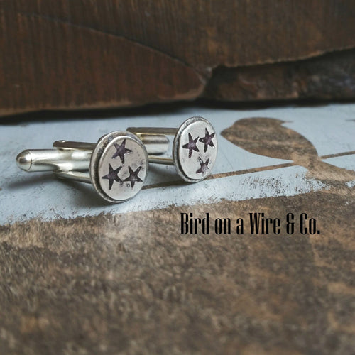 Tennessee Tri-Star Cuff Links- Sterling Silver/Brass