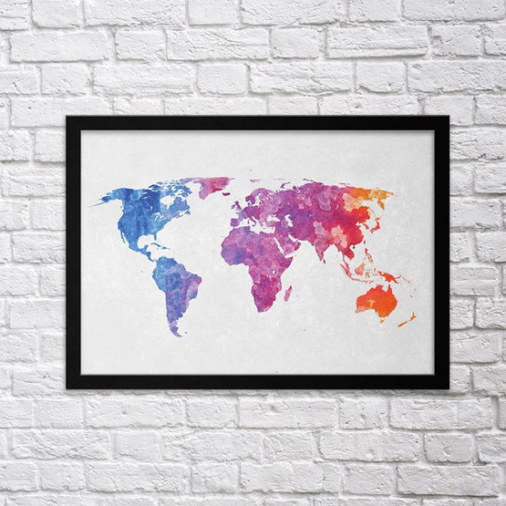Colorful World Map II - Northshire - Poster - Dekorasyon - Ev Dekorasyonu - Wall Art - Metal Wall Art - Decoration