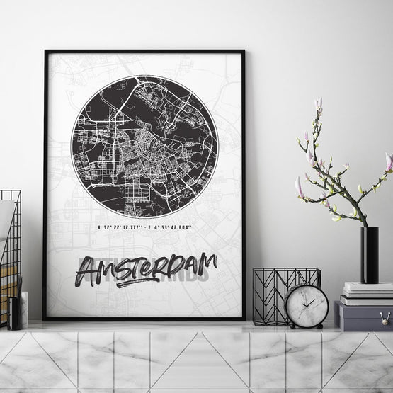 Amsterdam City Map - Northshire - Poster - Dekorasyon - Ev Dekorasyonu - Wall Art - Metal Wall Art - Decoration
