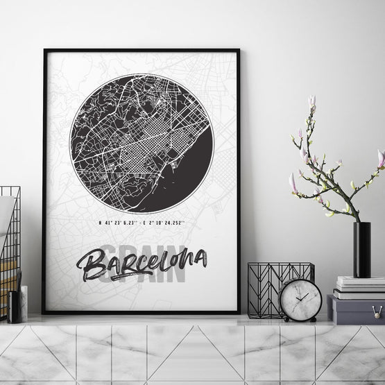 Barcelona City Map - Northshire - Poster - Dekorasyon - Ev Dekorasyonu - Wall Art - Metal Wall Art - Decoration