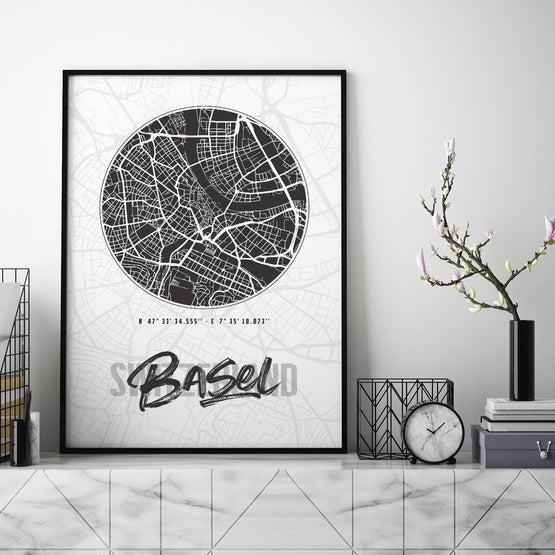 Basel City Map - Northshire - Poster - Dekorasyon - Ev Dekorasyonu - Wall Art - Metal Wall Art - Decoration