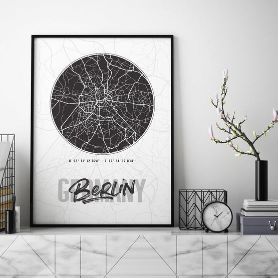 Berlin City Map - Northshire - Poster - Dekorasyon - Ev Dekorasyonu - Wall Art - Metal Wall Art - Decoration