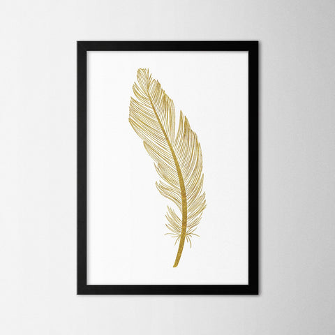 Gold Feather - Northshire - Poster - Dekorasyon - Ev Dekorasyonu - Wall Art - Metal Wall Art - Decoration