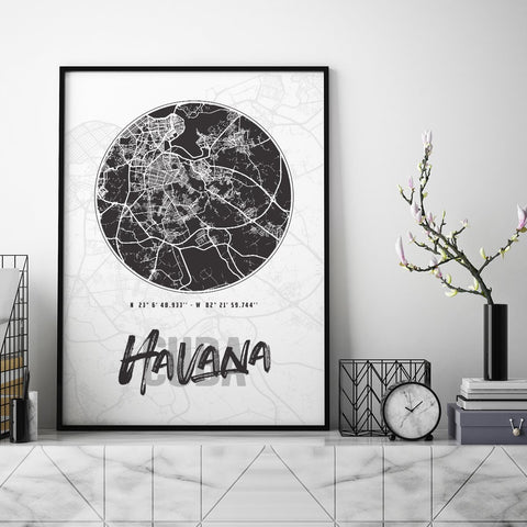 Havana City Map - Northshire - Poster - Dekorasyon - Ev Dekorasyonu - Wall Art - Metal Wall Art - Decoration