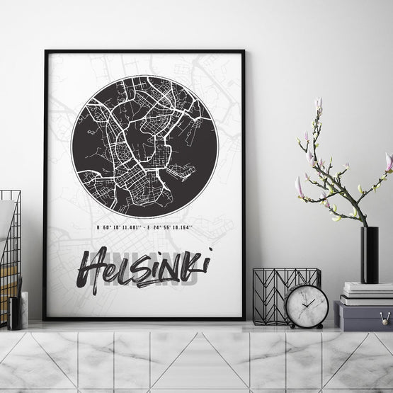 Helsinki City Map - Northshire - Poster - Dekorasyon - Ev Dekorasyonu - Wall Art - Metal Wall Art - Decoration
