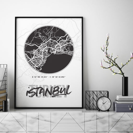 Istanbul City Map - Northshire - Poster - Dekorasyon - Ev Dekorasyonu - Wall Art - Metal Wall Art - Decoration