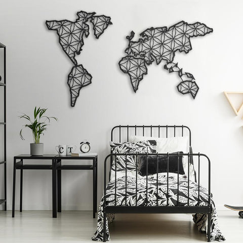 metal world map, world map, metal wall art