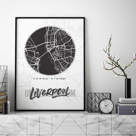 Liverpool City Map - Northshire - Poster - Dekorasyon - Ev Dekorasyonu - Wall Art - Metal Wall Art - Decoration
