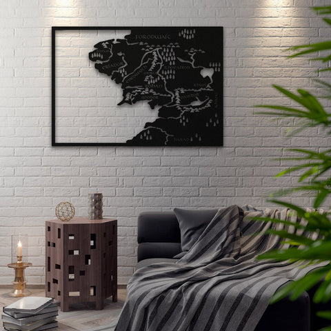 LoTR - Metal Harita - Northshire - Poster - Dekorasyon - Ev Dekorasyonu - Wall Art - Metal Wall Art - Decoration