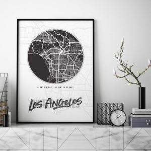 Los Angeles City Map - Northshire Art Prints - Metal Dekorasyon - Poster - Dekorasyon - Ev Dekorasyonu - Duvar Süsü