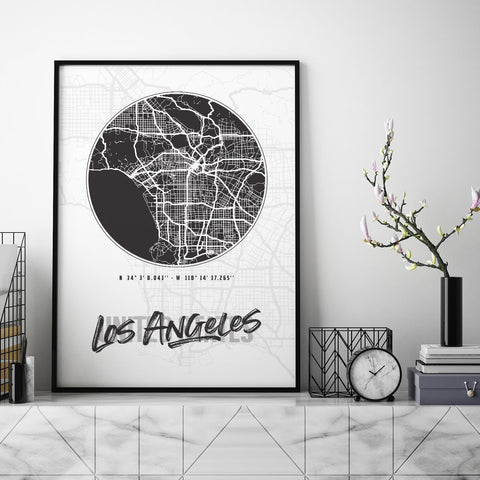 Los Angeles City Map - Northshire - Poster - Dekorasyon - Ev Dekorasyonu - Wall Art - Metal Wall Art - Decoration