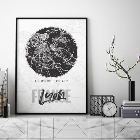 Lyon City Map - Northshire - Poster - Dekorasyon - Ev Dekorasyonu - Wall Art - Metal Wall Art - Decoration