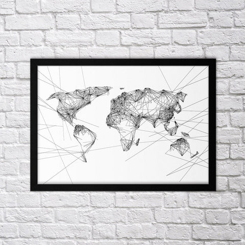 Geometric World Map - Northshire - Poster - Dekorasyon - Ev Dekorasyonu - Wall Art - Metal Wall Art - Decoration