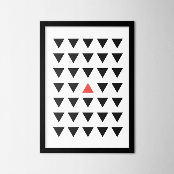 Minimal Red Triangle - Northshire - Poster - Dekorasyon - Ev Dekorasyonu - Wall Art - Metal Wall Art - Decoration