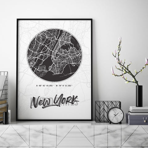 New York City Map - Northshire - Poster - Dekorasyon - Ev Dekorasyonu - Wall Art - Metal Wall Art - Decoration
