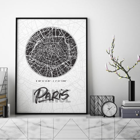 Paris City Map - Northshire - Poster - Dekorasyon - Ev Dekorasyonu - Wall Art - Metal Wall Art - Decoration