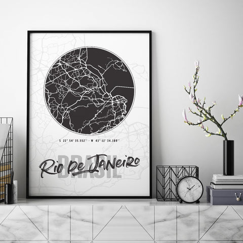 Rio Dejaneiro City Map - Northshire - Poster - Dekorasyon - Ev Dekorasyonu - Wall Art - Metal Wall Art - Decoration