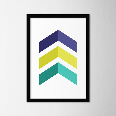 Scandinavian Colorful Chevron - Northshire - Poster - Dekorasyon - Ev Dekorasyonu - Wall Art - Metal Wall Art - Decoration