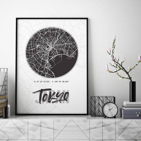 Tokyo City Map - Northshire - Poster - Dekorasyon - Ev Dekorasyonu - Wall Art - Metal Wall Art - Decoration